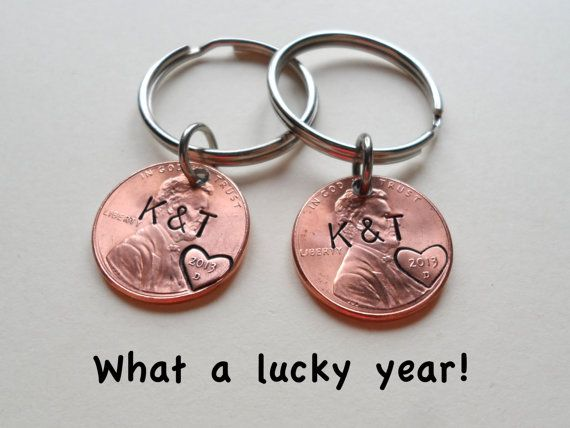 2 Personalized Penny Keychains Anniversary Gift, great give for any year, especially for 7 year traditional copper gift, great gift for boyfriend or husband