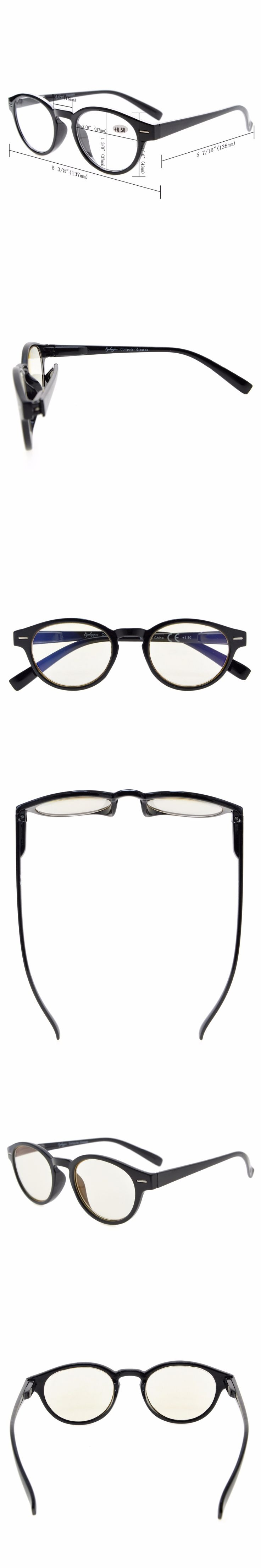 CG091 Eyekepper Retro Key Hole Oval Round Computer Readers Spring-Hinges Computer Reading Glasses Computer Eyeglasses