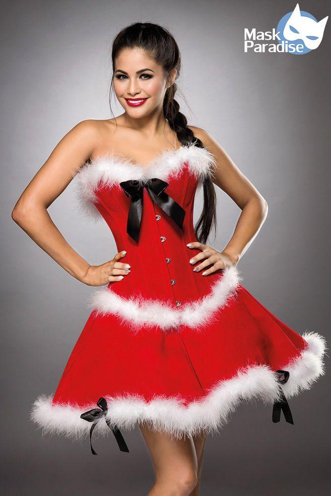 Süßes Weihnachtsfrau-Kostüm - Miss Santa Komplett-Set - Corsage + Rock