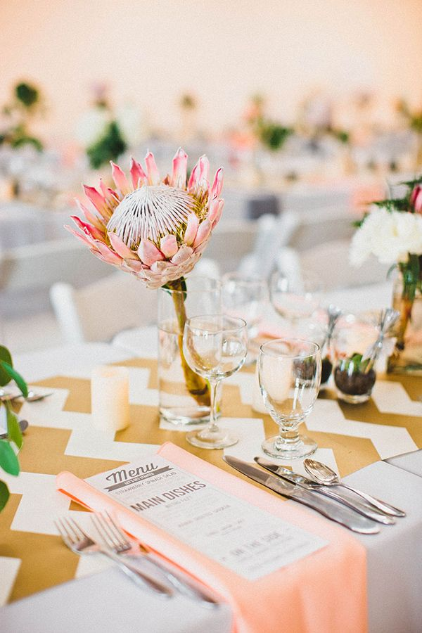 peach and gold table decor http://www.weddingchicks.com/2013/10/07/alternative-wedding/