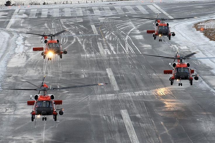 Coast Guard Jayhawk rescue helicopters flying in formationGuard Jayhawks, Jayhawks Rescue