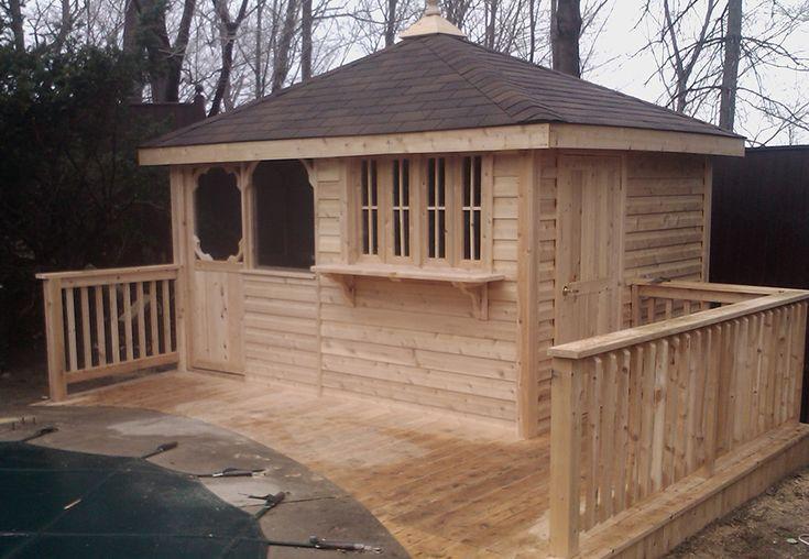 Custom cedar bar unit with screen room by Flamborough Patio