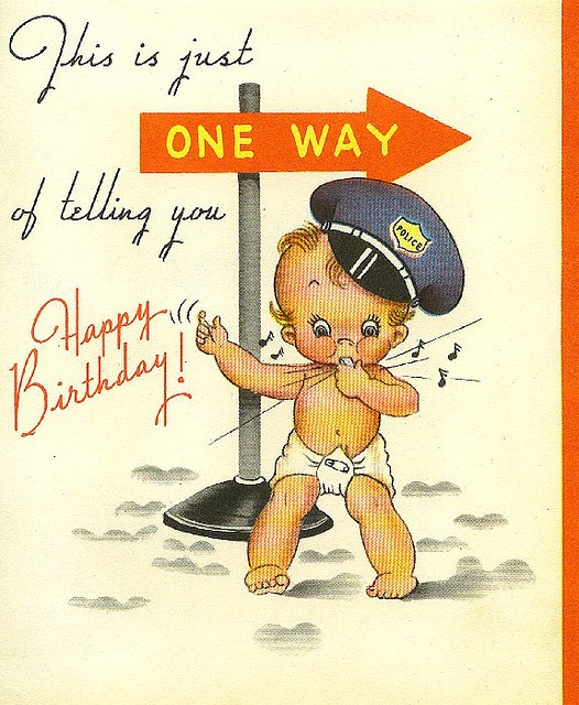 1947 1st BD card I Vintage birthday cards, Happy