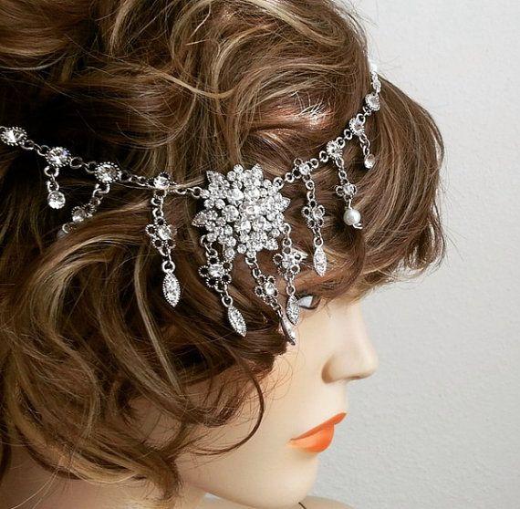 Bridal Rhinestone Headpiece Gatsby by SukranKirtisJewelry on Etsy