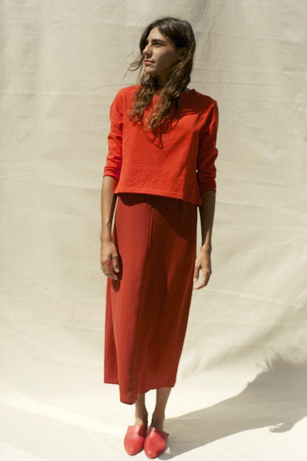 JOSEFINA SLIP DRESS, BRIGHT RUST
