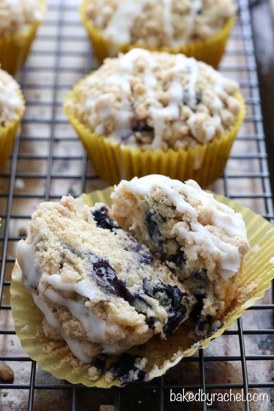 Moist blueberry streusel muffins with a sweet vanilla glaze