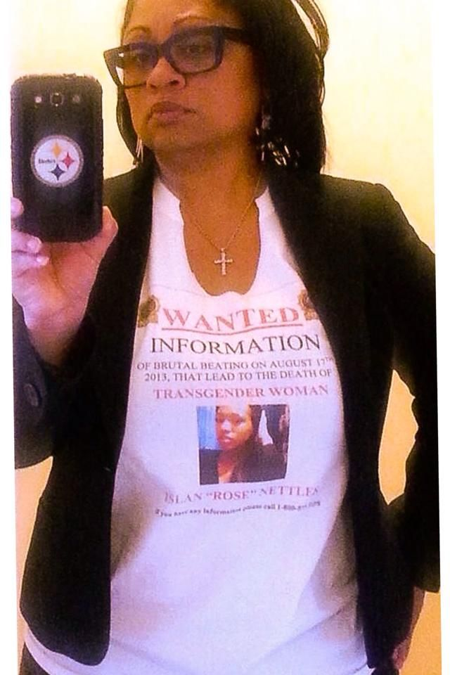 "Luz's Daughter Cares Founder E. Nariko Wright wears an Islan Nettles ""WANTED"" t-shirt.  Get one when you donate $100 to the Islan Nettles Reward Fund. http://www.gofundme.com/IslanNettlesReward4Arrest"