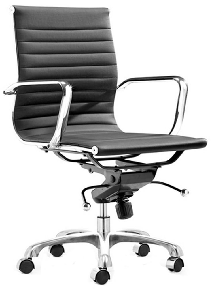 ALUMINUM / BICAST LEATHER LOW BACK OFFICE CHAIR