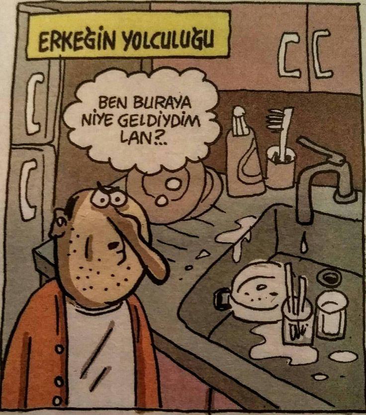 [Erkeğin yolculuğu] Ben buraya niye geldiydim lan?..  (Kaynak: Instagram - komediherseyim - https://www.instagram.com/p/BQLk_diAM_p/)  #karikatür #mizah #matrak #komik #espri #şaka #gırgır #komiksözler