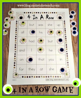 Halloween Themed 4-In-A-Row Game Board for Sight Words - Pinned by @PediaStaff – Please Visit http://ht.ly/63sNt for all our pediatric therapy pins