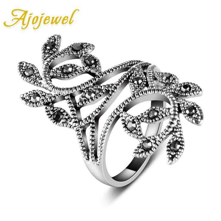 Ajojewel Brand Size 6-9 Hot Sale Zinc Alloy Antique Silver Plated Black CZ Retro Vintage Leaf Ring For Women