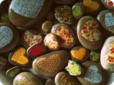 These would be so sweet to give out for Valentine's Day! Find the smoothest stones possible.  Cut fabric scraps shaped like hearts and Mod Podge onto the smooth side.