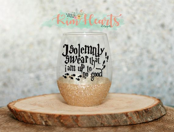 I solemnly swear that I am UP to NO good Harry Potter wizard glitter dipped stemless wine glass marauders map wine glass