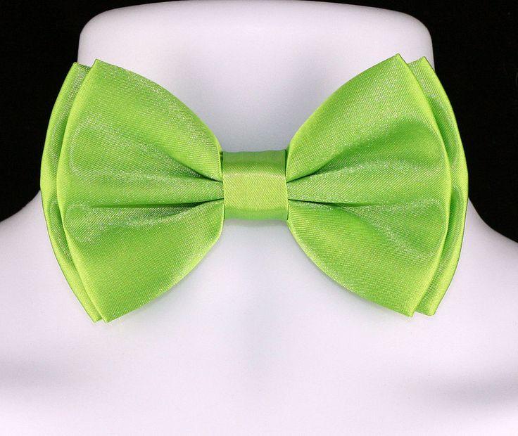 New Lime Green Large Butterfly Mens Bow Tie Adjust Tuxedo Wedding Fashion Bowtie #TiesJustForYou #BowTie