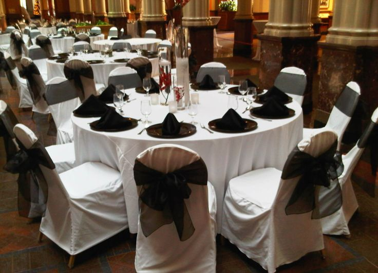 White Chair Covers With Black Organza Sashes Traditional