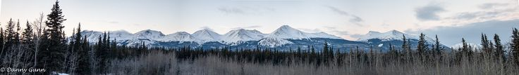 Stitched panoramic of The Seven Sisters Yukon (25136x3648) [OC]