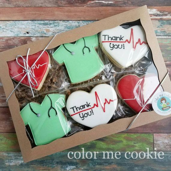 Boxed Set of 6 THANK YOU for NURSE or Doctor Sugar Cookies