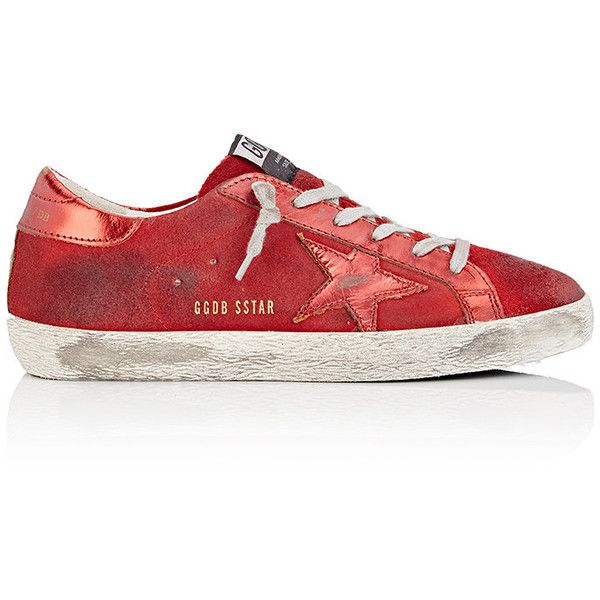 Golden Goose Women's Superstar Suede & Leather Sneakers ($480) ❤ liked on Polyvore featuring shoes, sneakers, red, suede shoes, metallic wedge sneakers, red trainers, golden goose sneakers and lace up sneakers