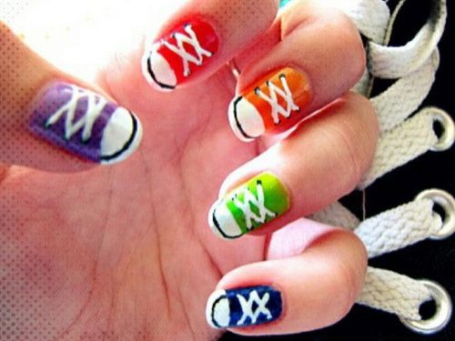 converse inspired nail idea love it since converse is my choice shoe - Cool Nail Design Ideas