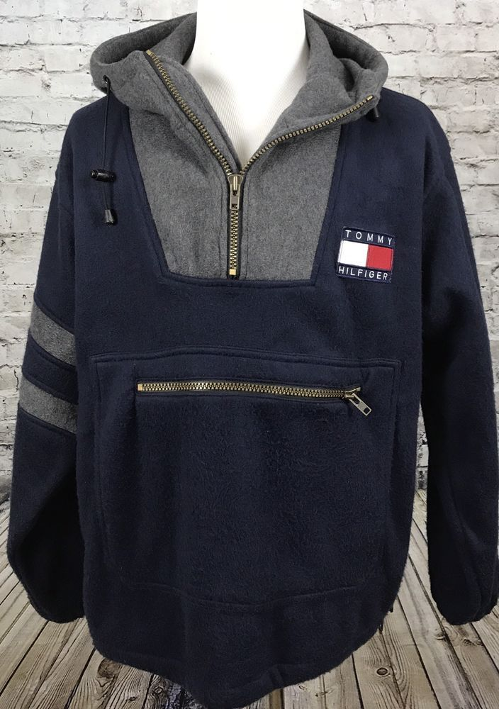 369056a72b415 Tommy Hilfiger Vintage Fleece 1 4 Zip Pullover Big Flag Logo Men s M Rare  90 s