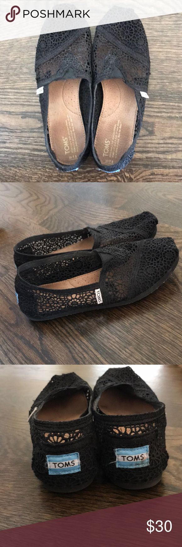 Black Lace Toms Black lace atoms shoes, size 7.5. No wear or tears, hardly used. Toms Shoes Flats & Loafers