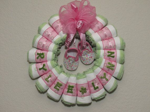 Small Rolled Baby Girl Diaper Wreath by blissfulbunchesbyb2, $30.00