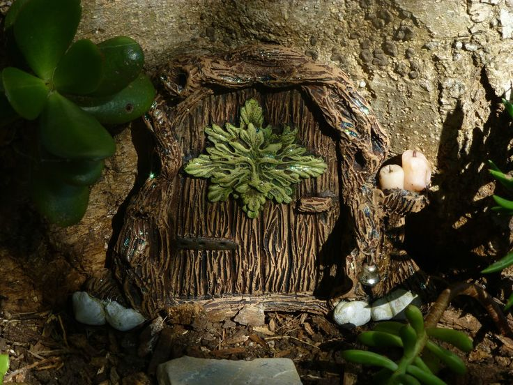 1 x hand made ooak fairy elf pixie gnome door  Stunning green man door bell cute https://www.facebook.com/InspiredByFae?ref=hl  By Michelle Fenton