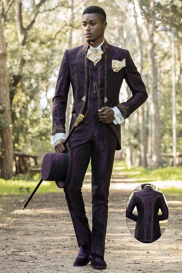 0379643a16e ONGala 2062 - Gothic style purple frock coat with napoleon collar and  golden embroidery