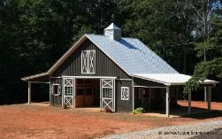 This is the exact size and shape of my barn I want. Love the doors on outside of stalls and overhang