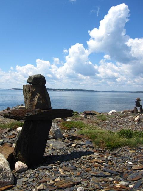 Inukshuk`s near Lunenburg, Nova Scotia.
