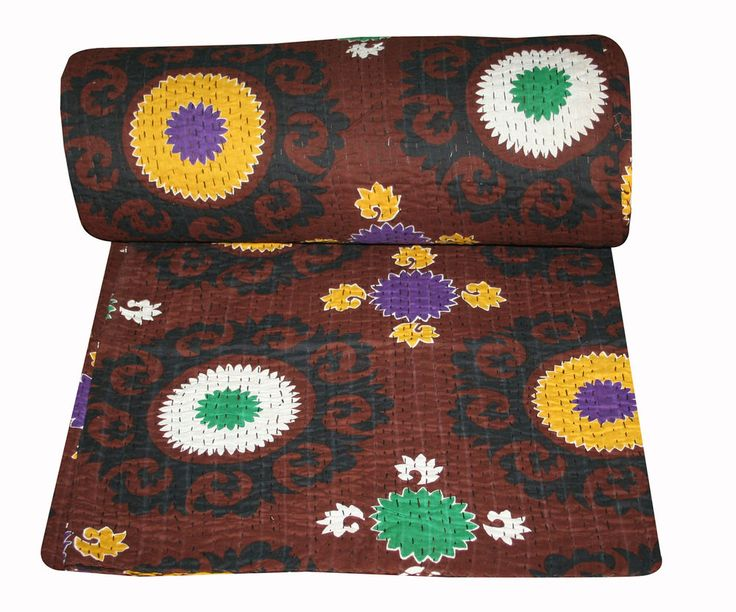 Hand Made Kantha Quilt Reversible Kantha Bed Cover Cotton Blanker Throw Decor    #Unbranded #ArtDecoStyle