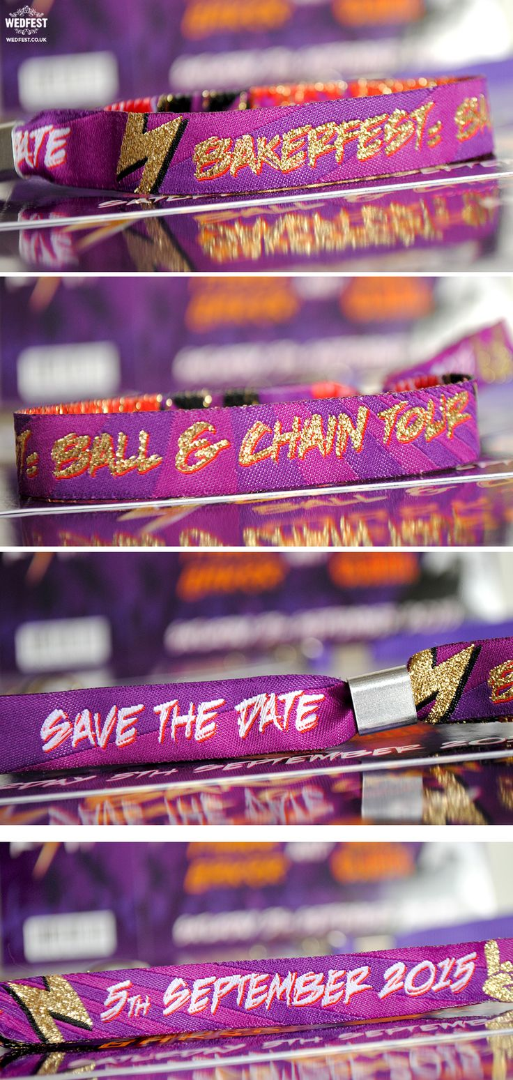 heavy metal rockers wedding wristbands http://www.wedfest.co/amy-marks-purple-rock-n-roll-wedding-stationery/