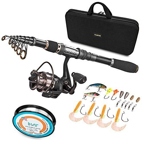 #fishingshopnow PLUSINNO Telescopic Fishing Rod and Reel Combos FULL Kit, Spinning Fishing Gear Organizer Pole Sets with… #fishingshopnow