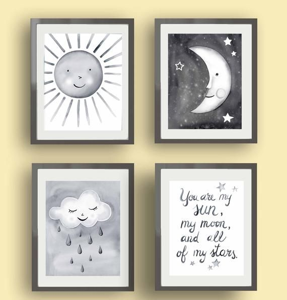 Sun Moon Star Nursery Art Stars Moon Art Prints Children Etsy Moon Stars Nursery Baby Nursery Wall Art Star Nursery Art