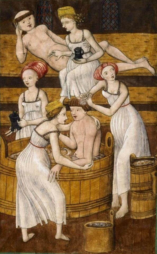 monks in the bath  Antithesis Christi et Antichristi (Jenský kodex/Jena Codex), Bohemia ca. 1490-1510 (Praha, Knihovna Národního muzea, IV.B.24, fol. 78v)