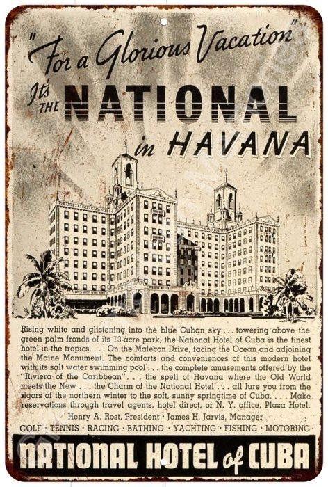 National Hotel in Havana Cuba Vintage Look Reproduction Metal Sign 8x12 8122486