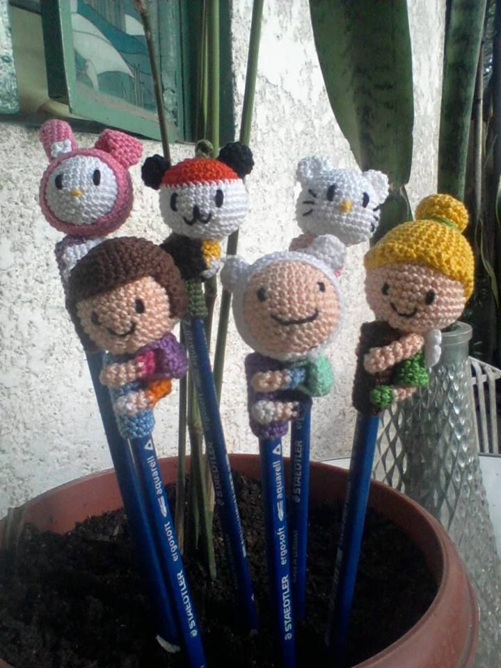 Crochet Pencil Toppers (original design) find the pattern here: http://www.ravelry.com/patterns/library/tinkerbell-pencil-topper http://www.ravelry.com/patterns/library/finn-the-human-pencil-topper