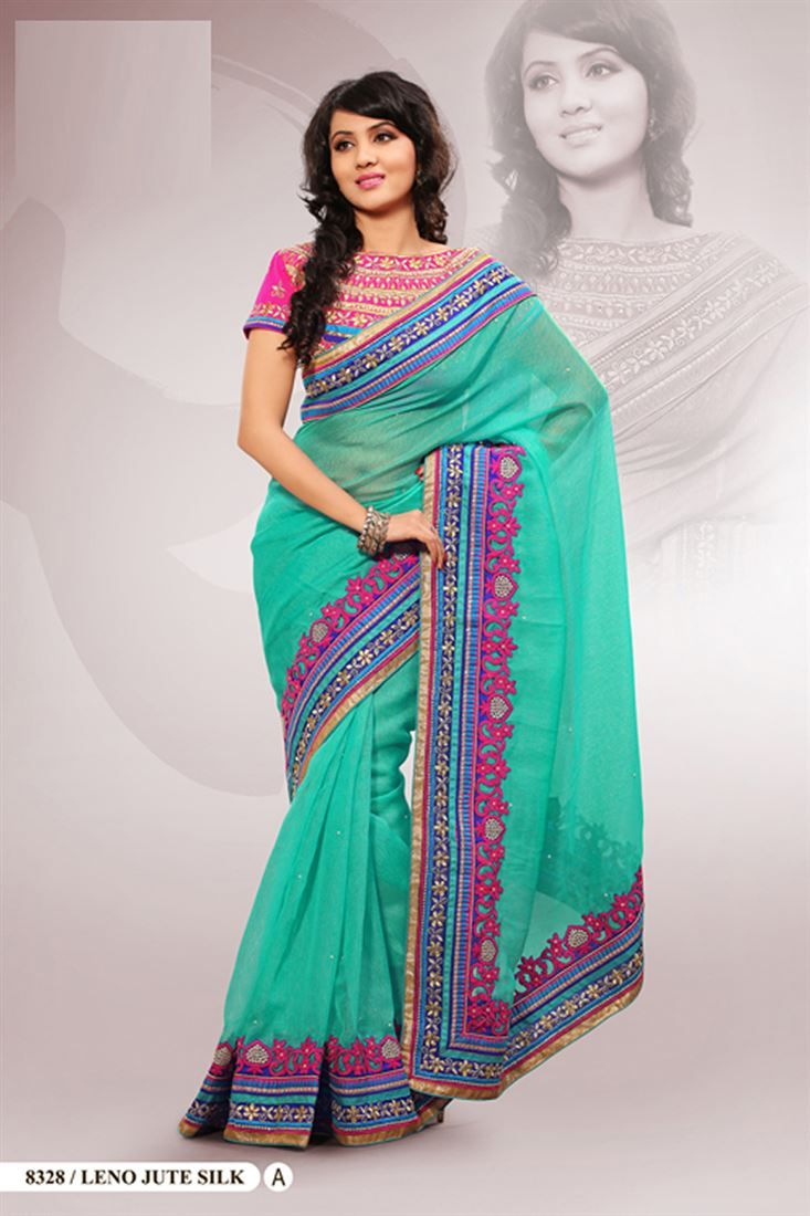Sea Green Polyester Embroidered Saree With Blouse