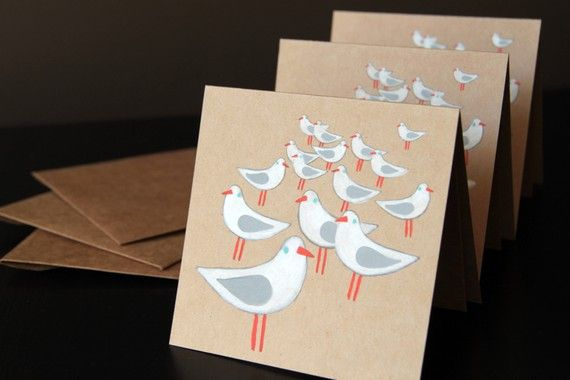 seagull notecards original OOAK set of three by marelleshop