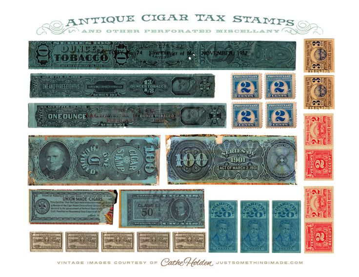 Free Printable from JustSomethingIMade.com CIGAR-TAX-STAMPS