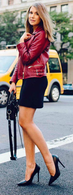 Marianna Mäkelä + alternative and edgy + crimson biker jacket + stylishly + black mini dress + similar look + black stilettos + Marianna's style!  Jacket: Zara, Dress: Brandy Melville, Sunnies: Karen Walker, Heels: AllSaints, Bag: Balenciaga.