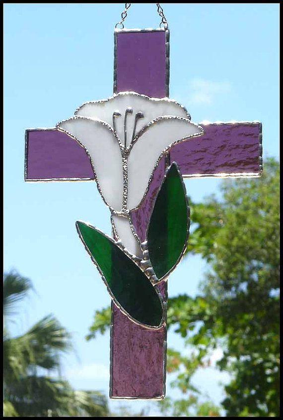 Purple  Mauve  Stained Glass Cross Sun by StainedGlassDelight, $32.95   #suncatcher #stainedglass