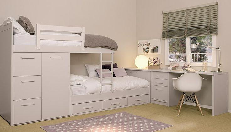 unglaubliches Modell mit Etagenbett, mit zwei Betten und der Möglichkeit bis zu drei mit Schubladen, Schränken und einem großen Arbeitsbereich. in DM LACA …