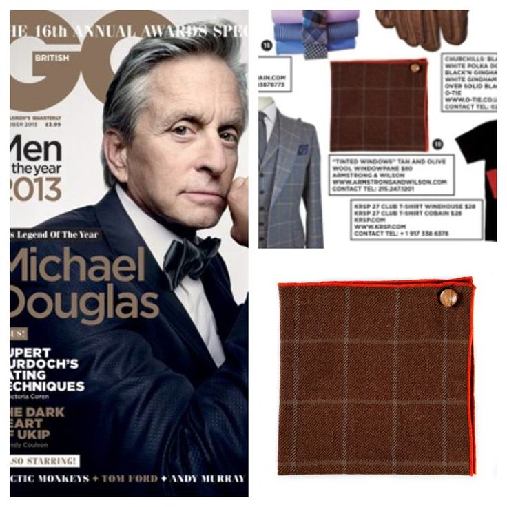 Armstrong & Wilson Pocket Squares in GQ British October 13'