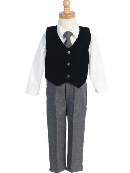 Your little boy will look so handsome in this outfit. Four piece formal wear with velvet vest, pants with matching tie, and collared shirt. This outfit is proudly made in the USA.  Sizes: 6-12m, 12-18m, 18-24m, 2T, 3T, 4T, 5, 6, 7 $39.90
