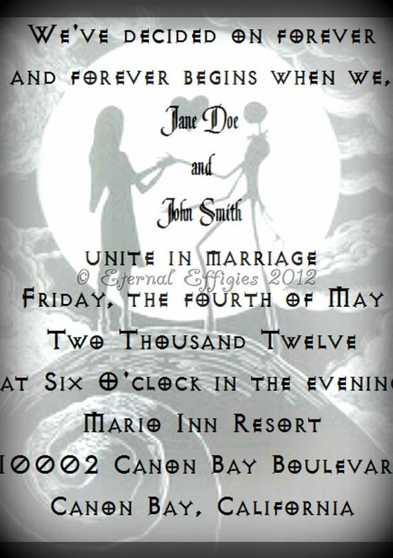 Black And White Nightmare Before Christmas Inspired Print At Home Wedding  Invitation RSVP Cards