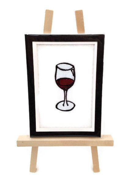 Embroidery WINE Image Matted 5 x 7 Embroidered by JulsSewCrazy, $15.00