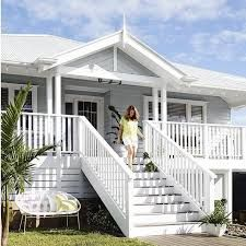 Image result for wooden white stairs external