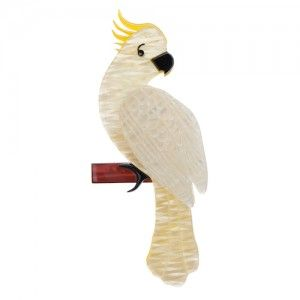 Erstwilder - Carnaboo the Cockatoo (White Resin Brooch)
