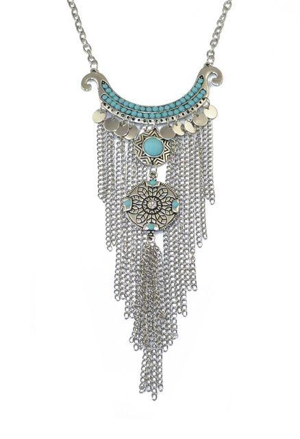 Bohemio de la vendimia granos de la luna de plata grande de la flor colgante de collar de cadena larga collar de flecos étnico tribal de la joyería femenina